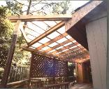 arbor with smoke color polycarbonate roof panels