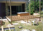 deck framing started, its at floor level of bedroom
